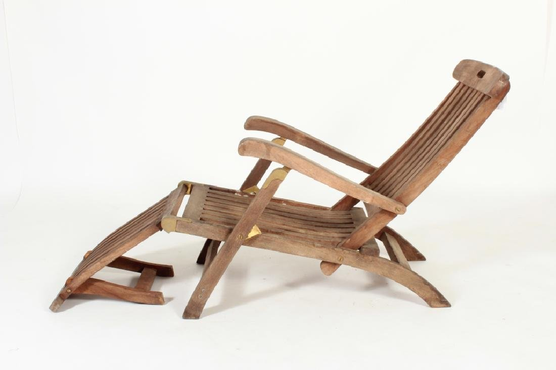 Teak Commodore Steamer Chair, labeled Andrew - 3