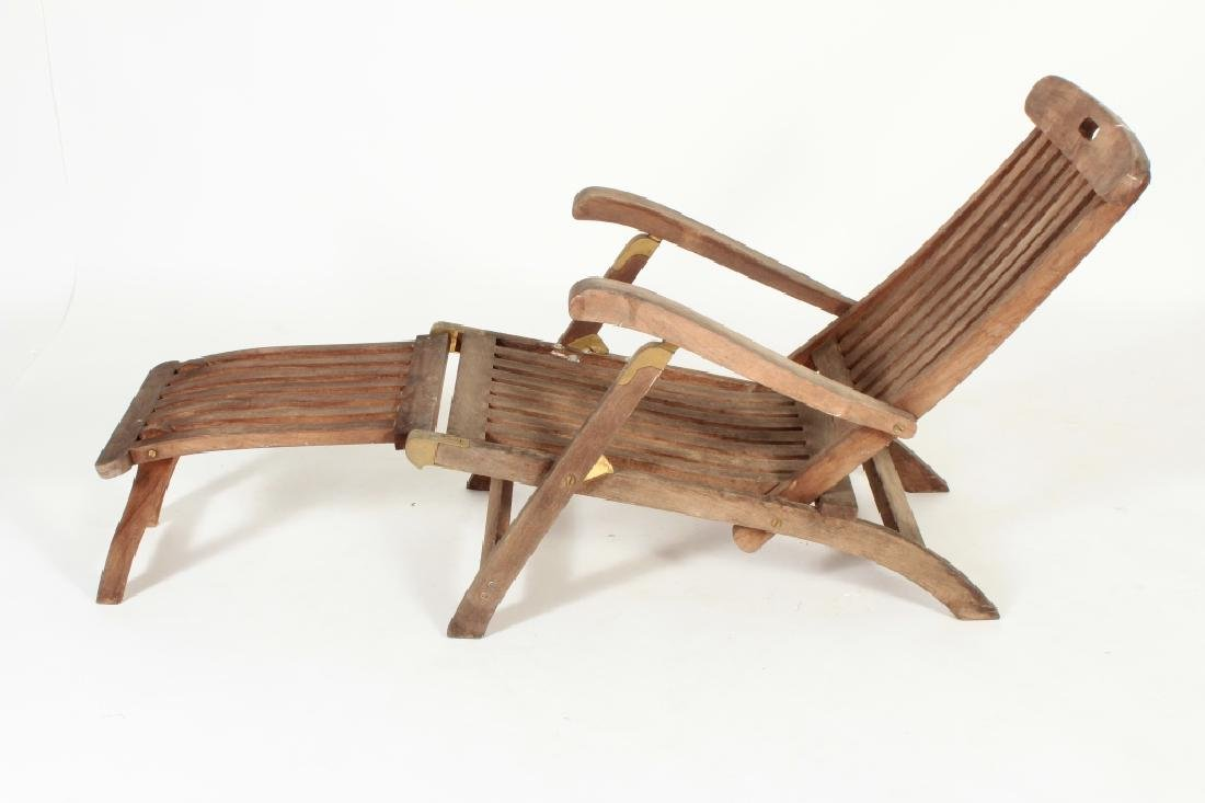 Teak Commodore Steamer Chair, labeled Andrew - 4