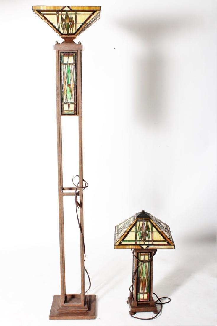 Frank Lloyd Wright Style Floor Lamp & Table Lamp