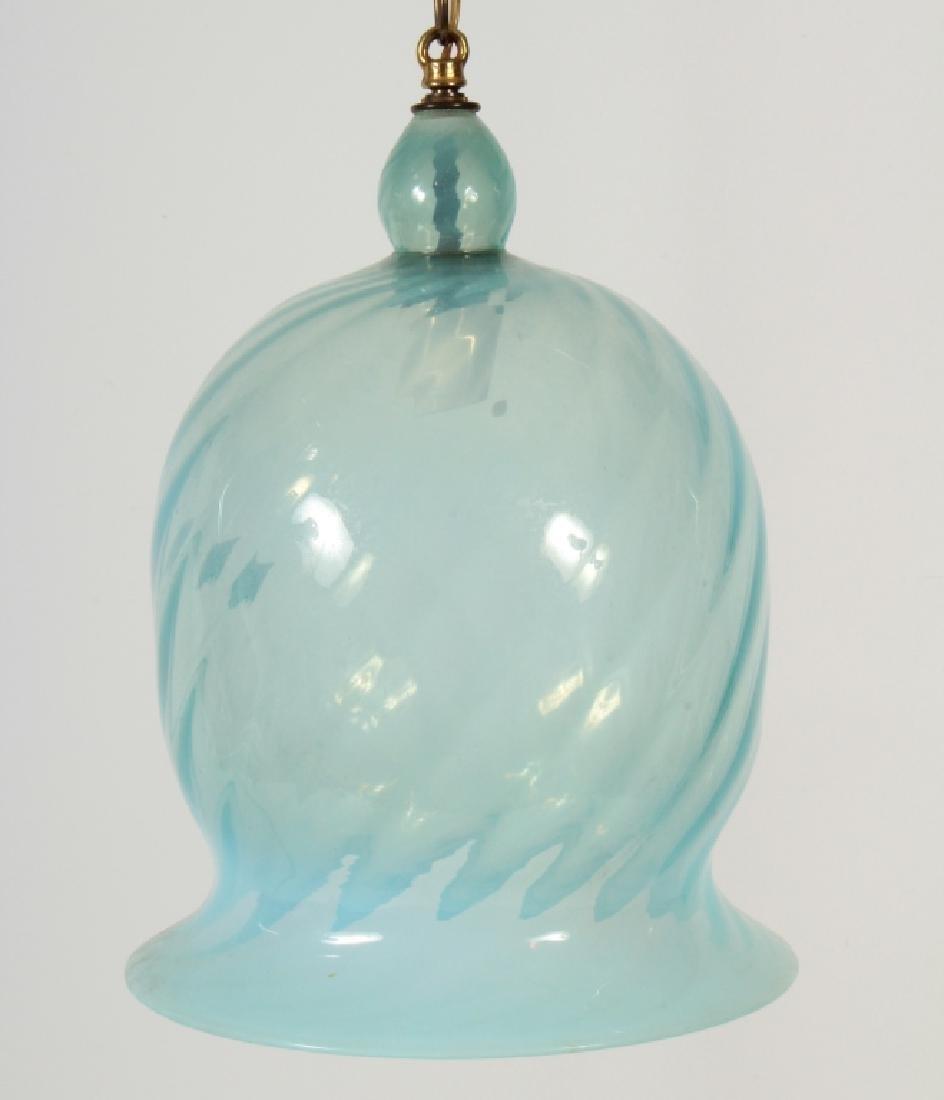 Indian Hand Blown Swirled Glass Pendant Light