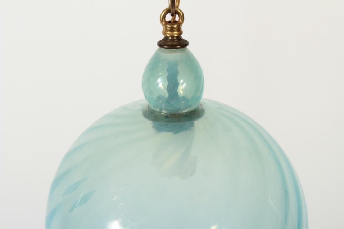 Indian Hand Blown Swirled Glass Pendant Light - 2