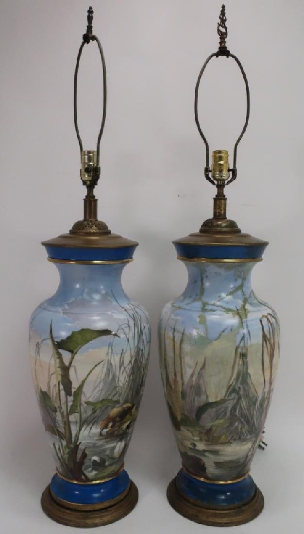 Pair of Limoges Hand-Painted Vases as Lamps