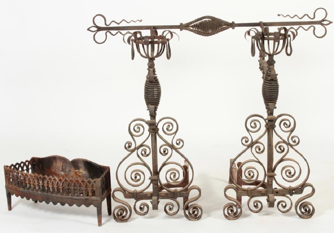Massive Scrolled Ironwork Fireplace Andirons