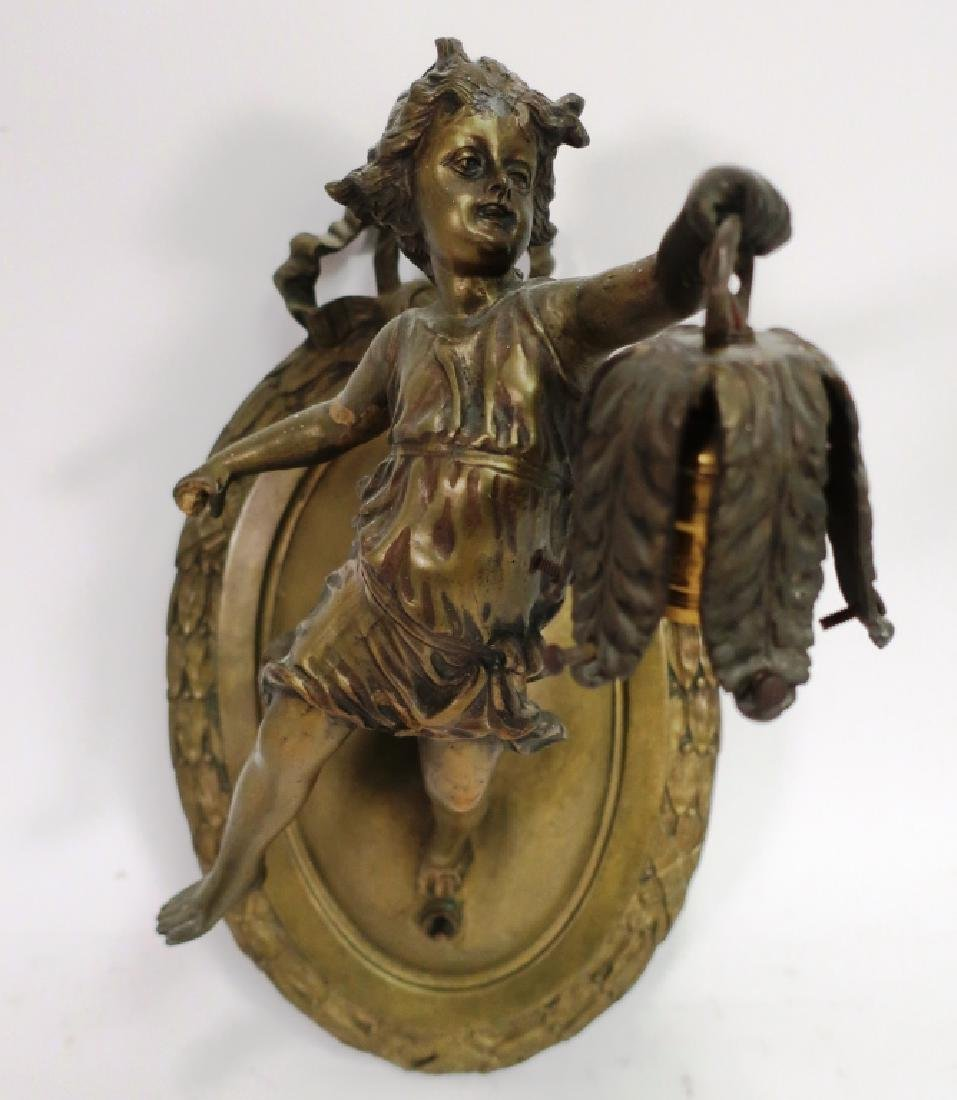 Putto Holding Leaf-Form Lantern as Sconce, Brass