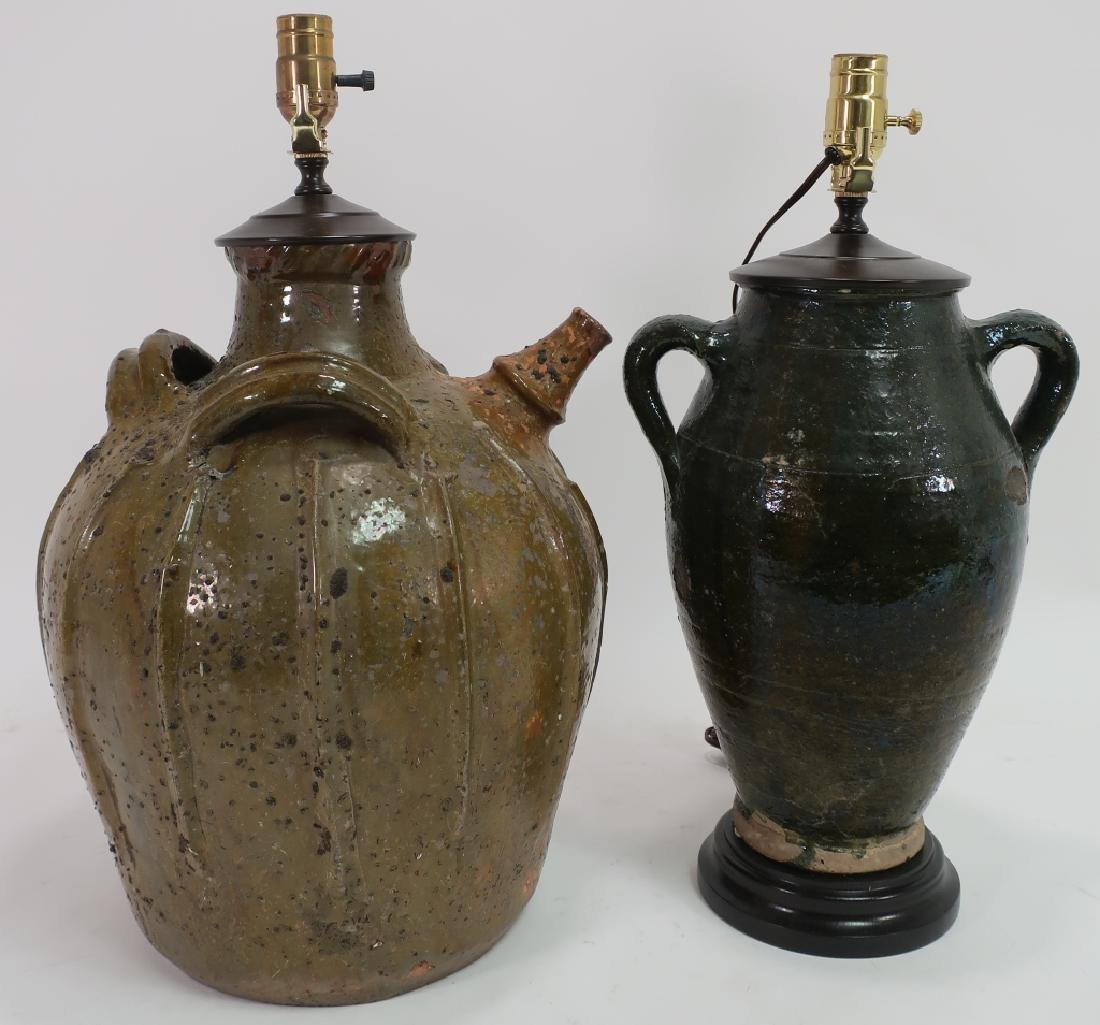 Lot of 2 Lamps Turkish Jug and Olive Oil Jug