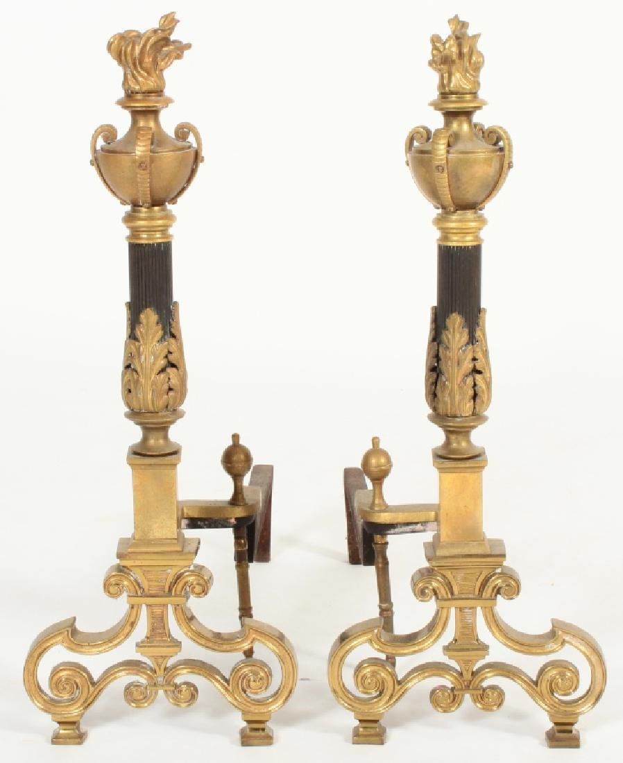 Pair of French Empire Style Torchiere Andirons