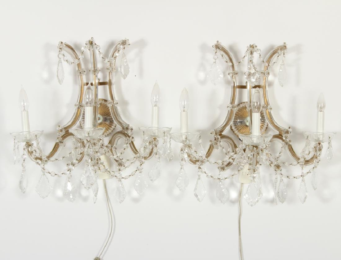 Pair of 3 Light Cut Glass/Metal Wall Sconces