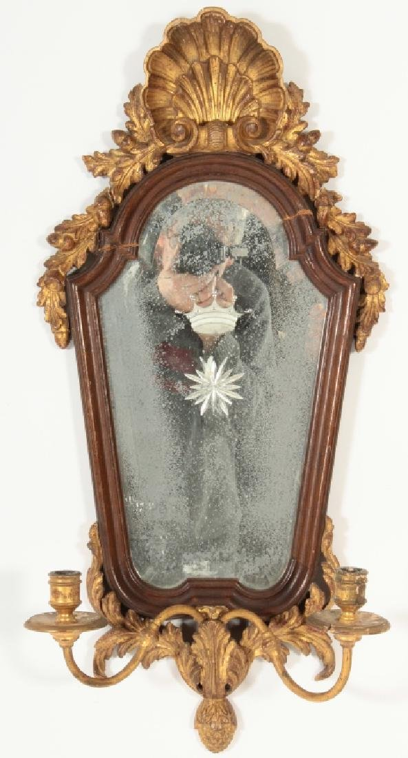 19th C. Italian Fruitwood and Gilt Carved Mirror