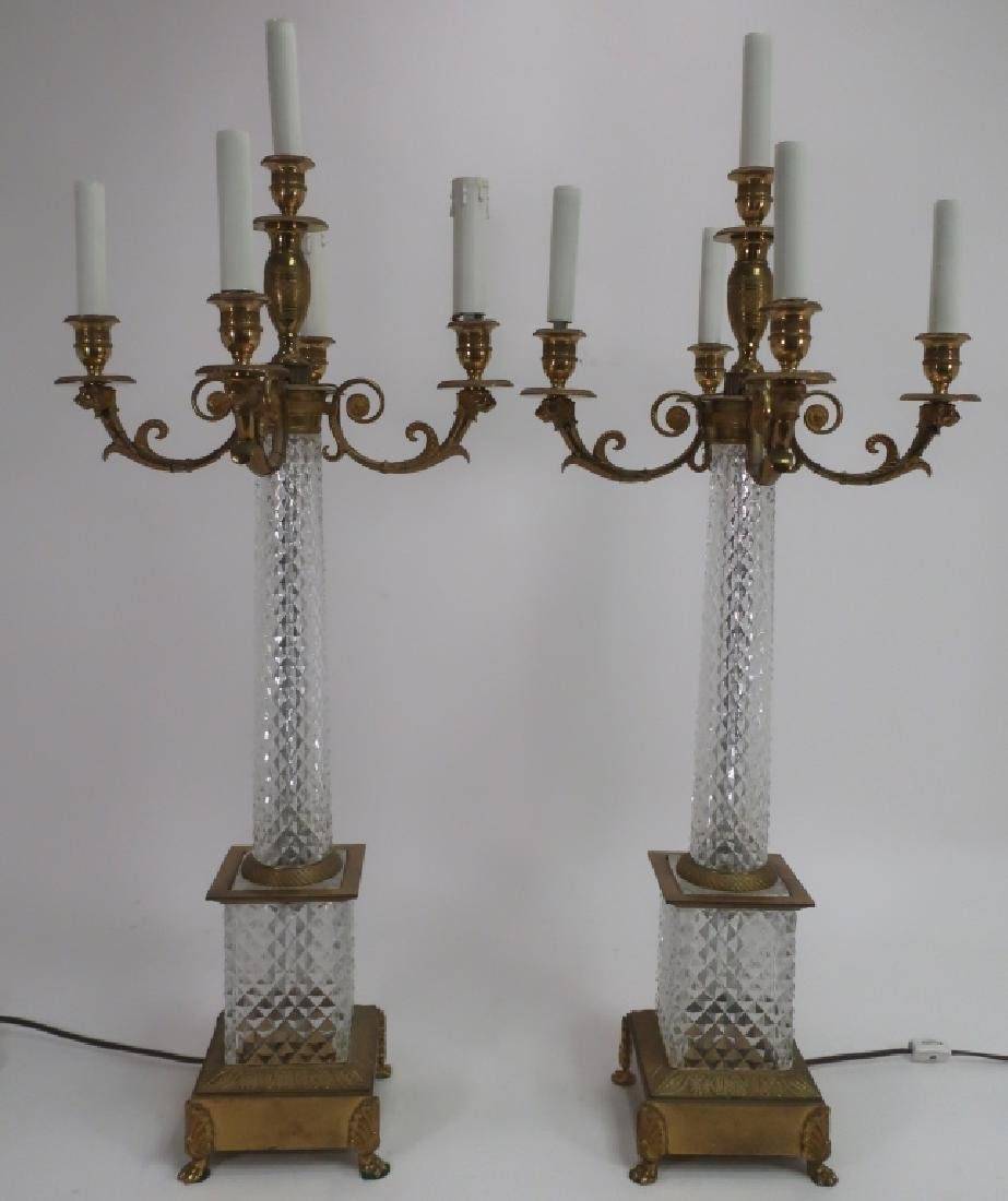 Pair French Faceted Crystal Bronze Table Lamps