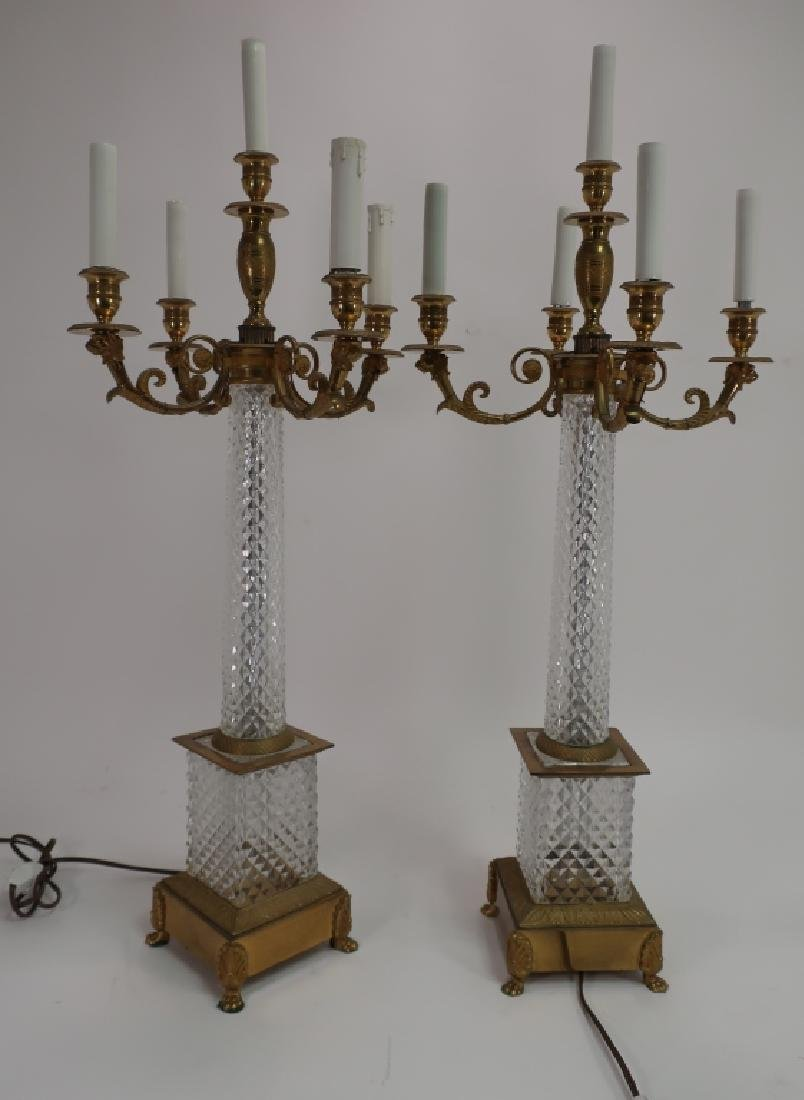 Pair French Faceted Crystal Bronze Table Lamps - 2