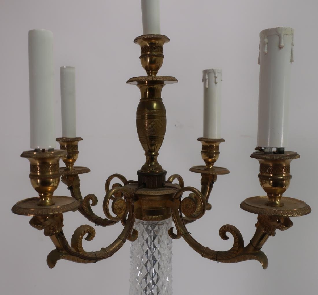 Pair French Faceted Crystal Bronze Table Lamps - 4