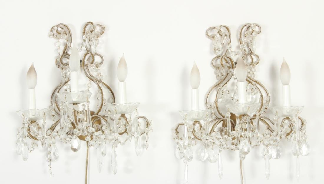 Pr of 3 Light Glass Beaded Wall Sconces