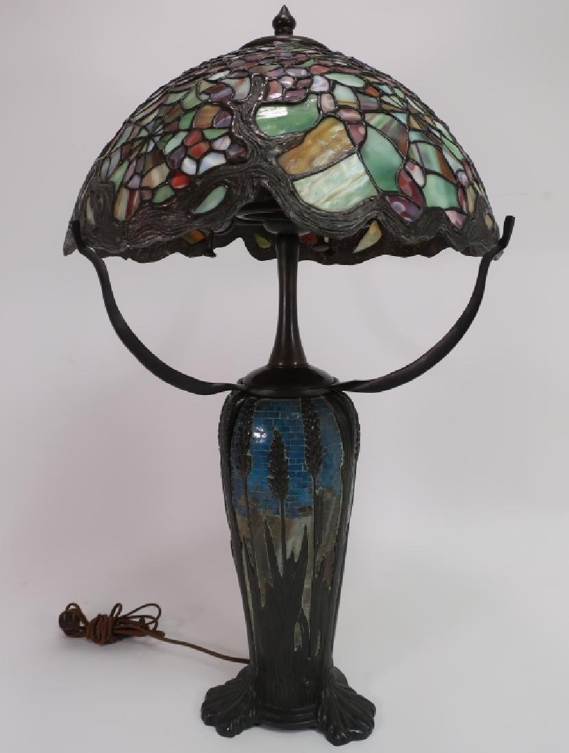 Tiffany-Style Stained Glass Lamp w Mosaic Base