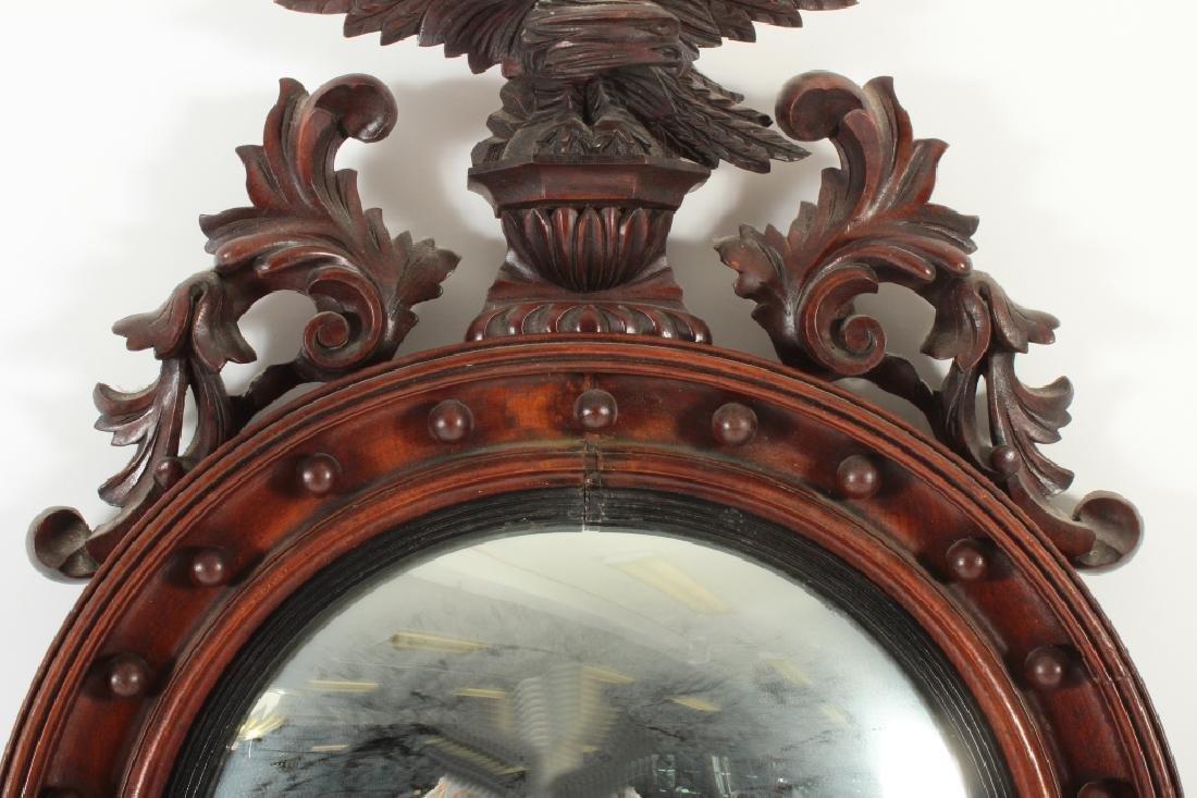 19th C. Regency Mahogany Convex Mirror - 3