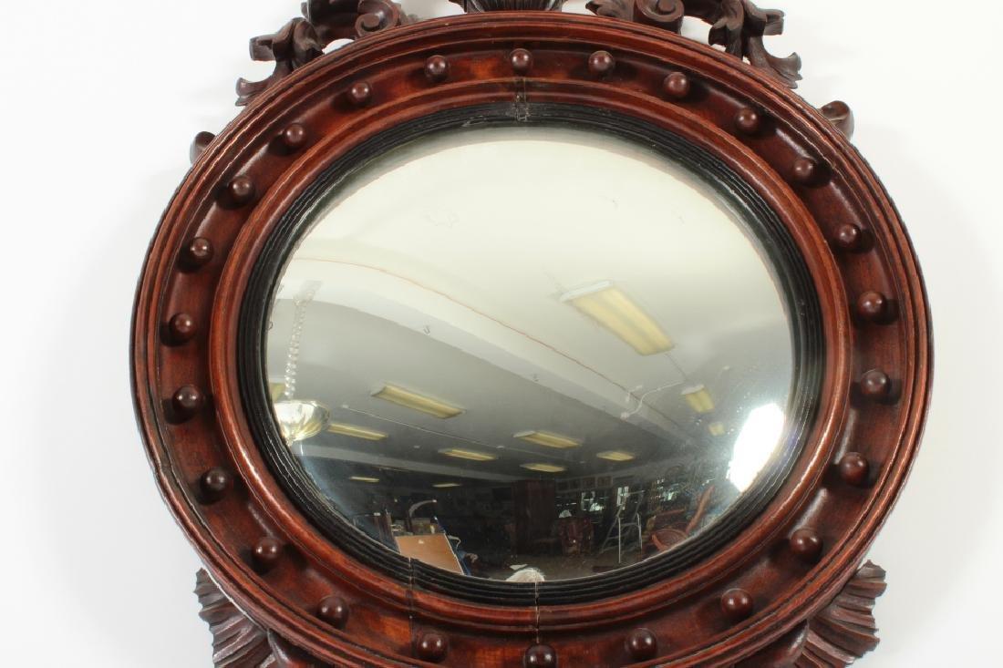 19th C. Regency Mahogany Convex Mirror - 6