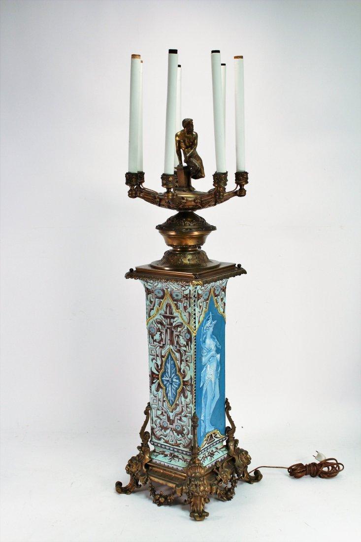Limoges Vase as Large Bronze Mounted Lamp, c. 1870