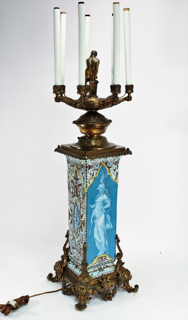 Limoges Vase as Large Bronze Mounted Lamp, c. 1870 - 5