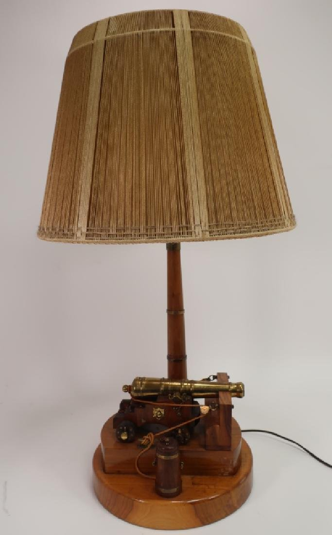 Naval Brass Cannon Model as Table Lamp