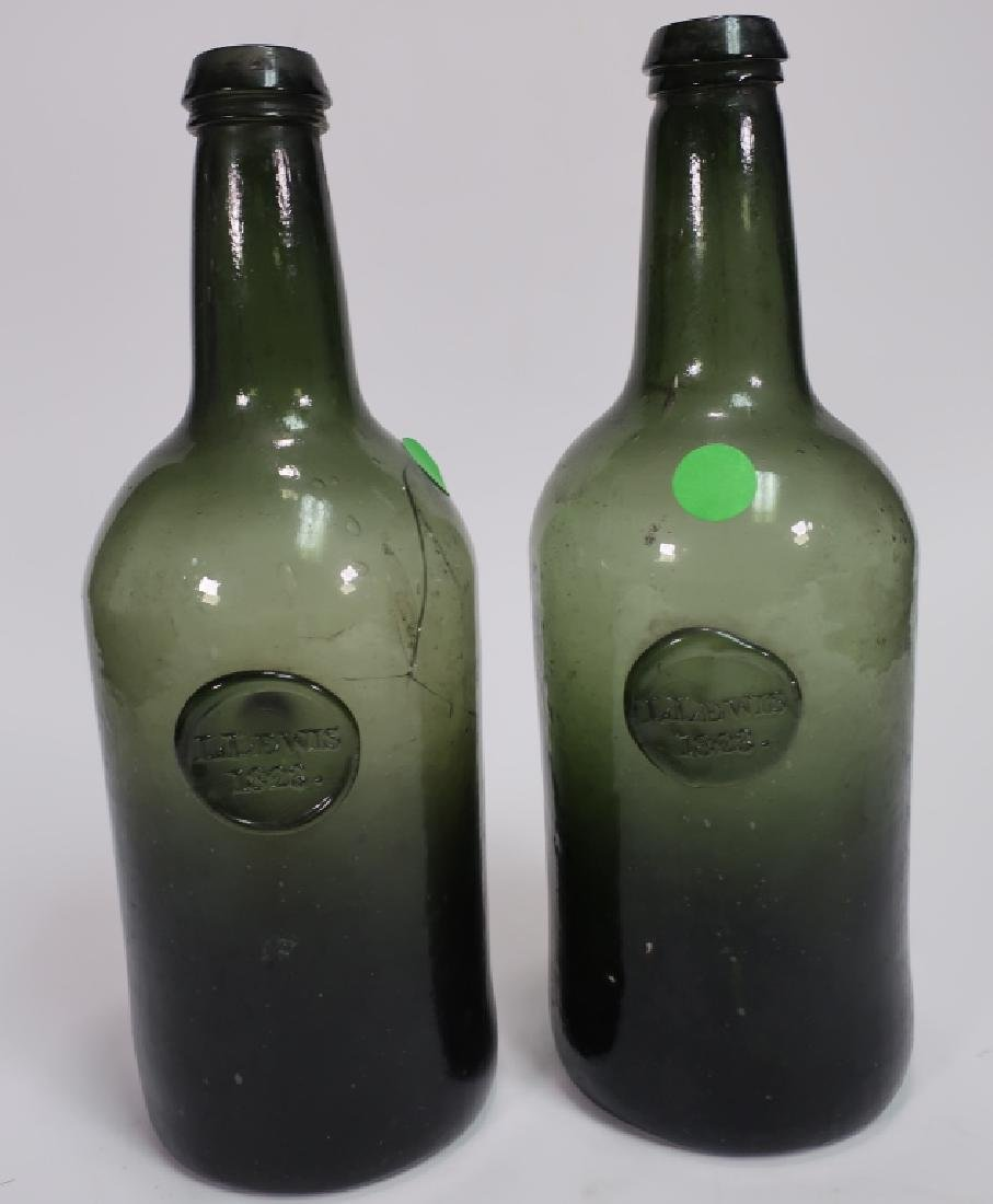 "2  Am. Green Glass Wine Bottles, ""L Lewis, 1823"""