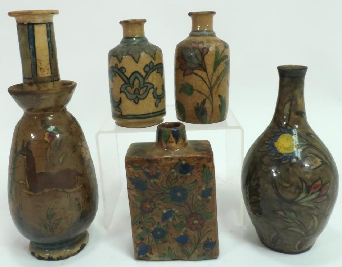 5 Antique Persian Qajar Pottery Bottles & Vases