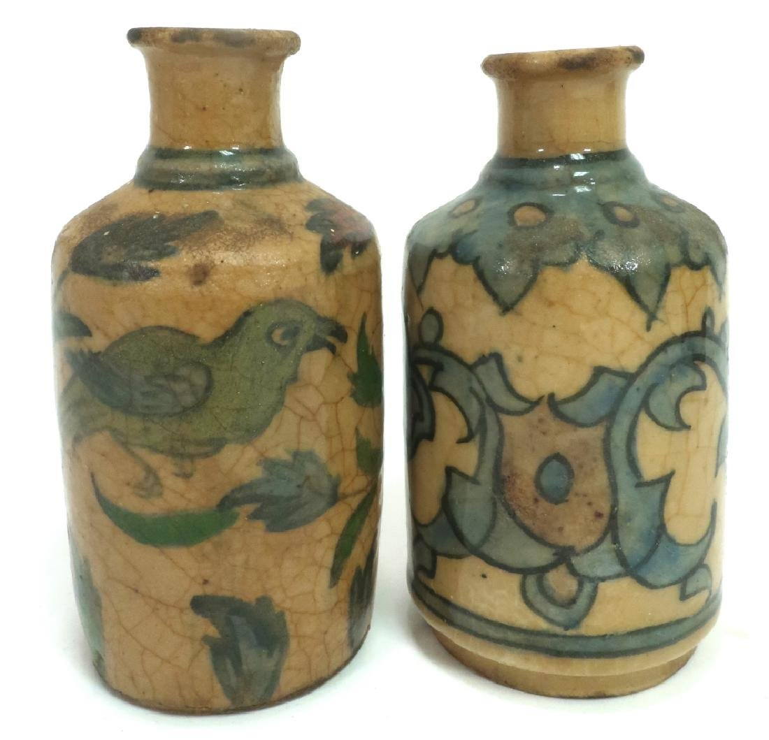 5 Antique Persian Qajar Pottery Bottles & Vases - 4