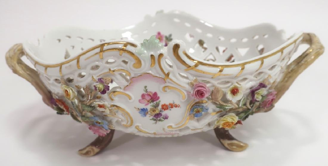 Meissen 19th c. Flower Encrusted Footed Basket