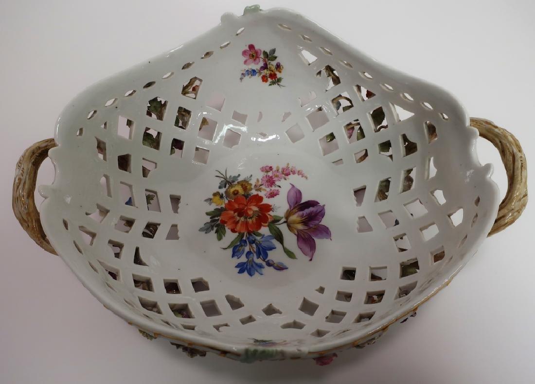 Meissen 19th c. Flower Encrusted Footed Basket - 2