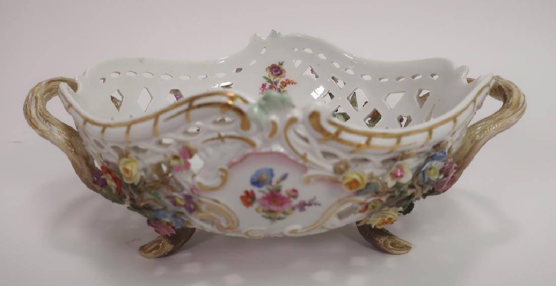 Meissen 19th c. Flower Encrusted Footed Basket - 3