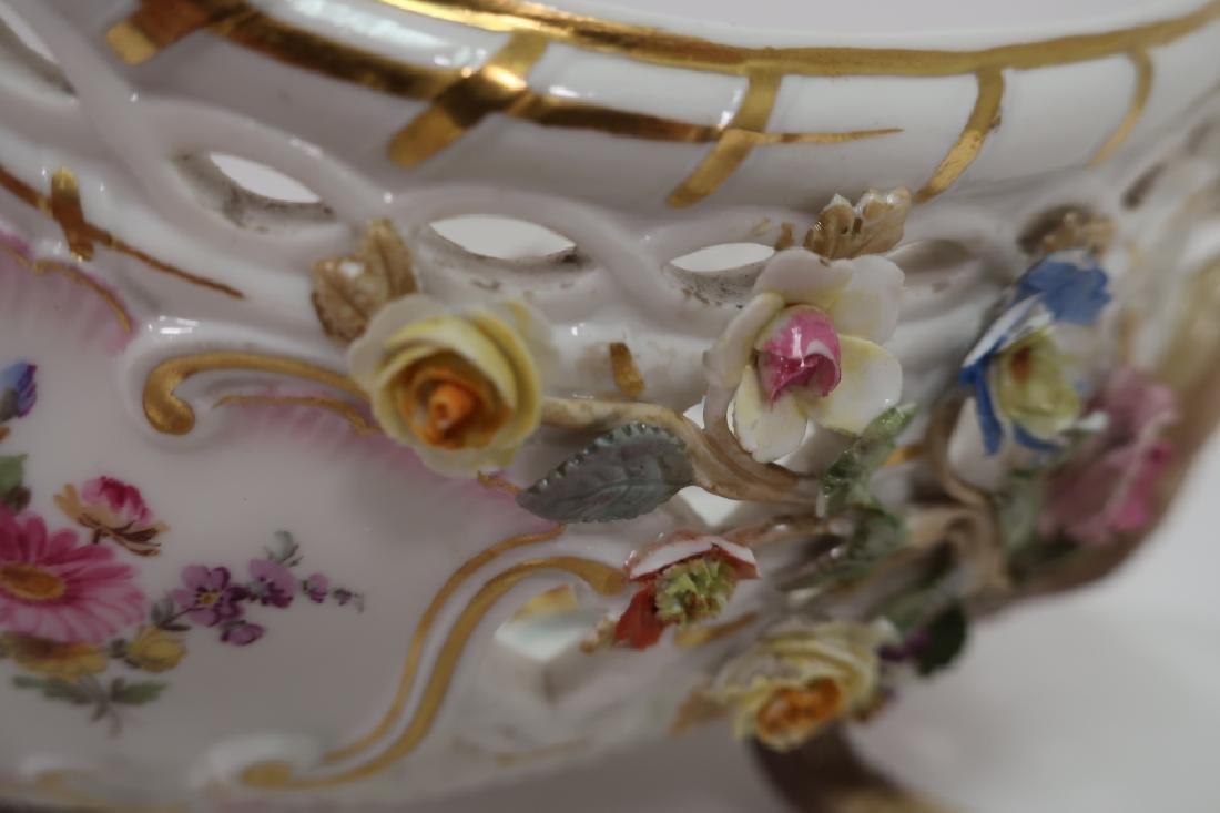 Meissen 19th c. Flower Encrusted Footed Basket - 4