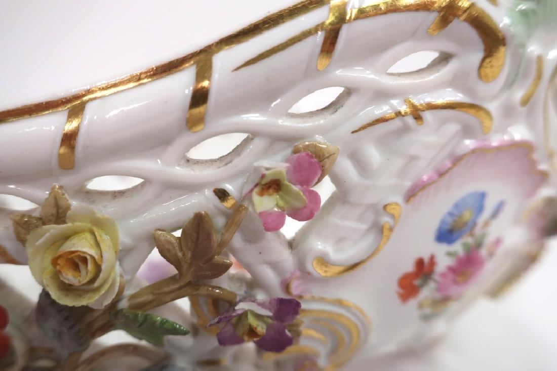 Meissen 19th c. Flower Encrusted Footed Basket - 5
