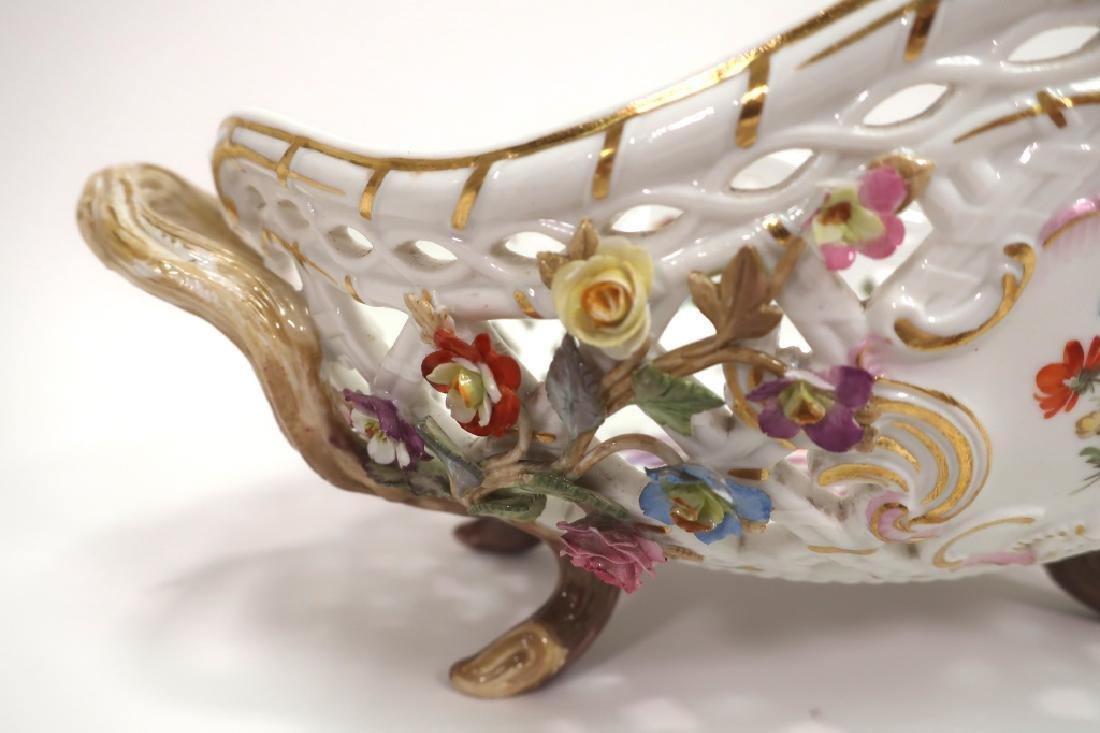 Meissen 19th c. Flower Encrusted Footed Basket - 6