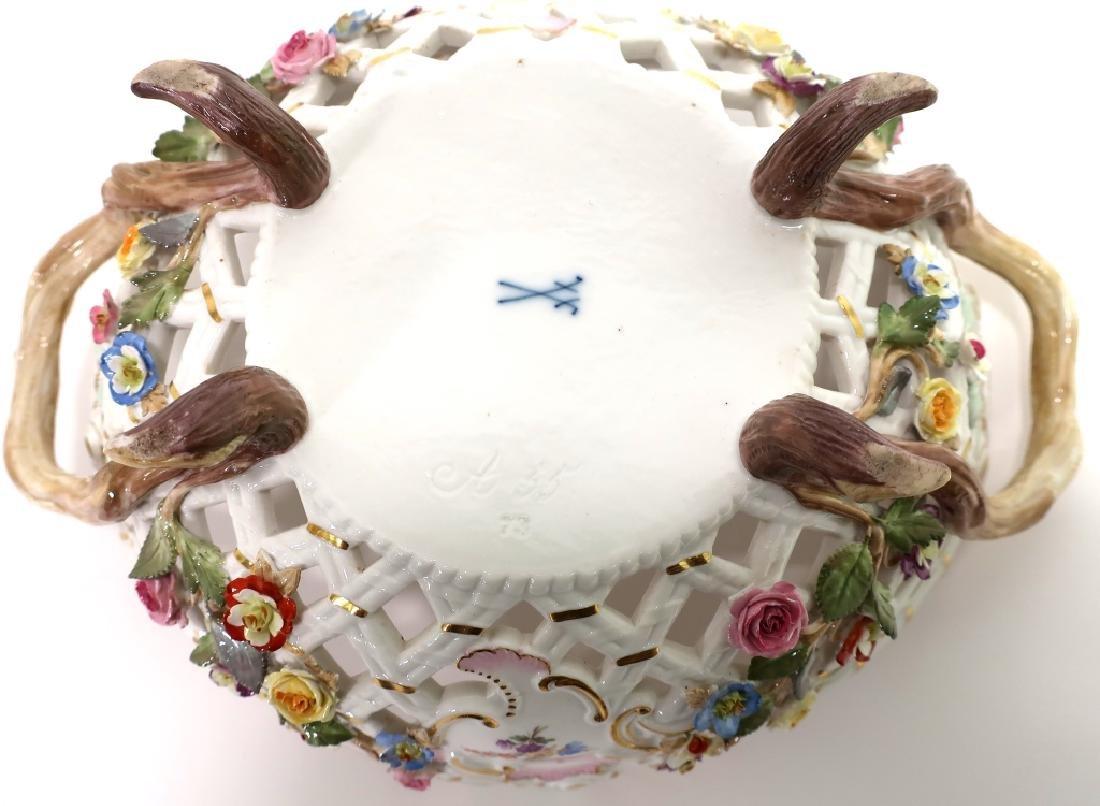 Meissen 19th c. Flower Encrusted Footed Basket - 7