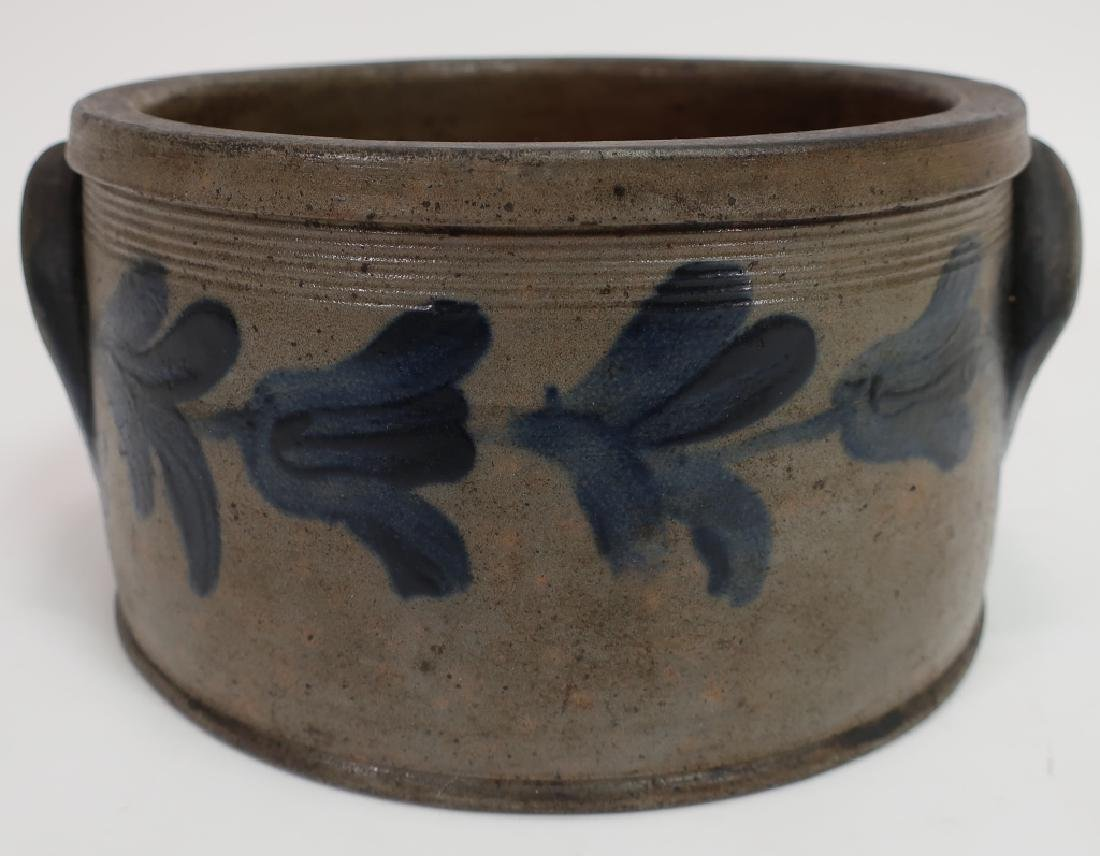 19th c. Cobalt Decorated Cake Crock, Handles