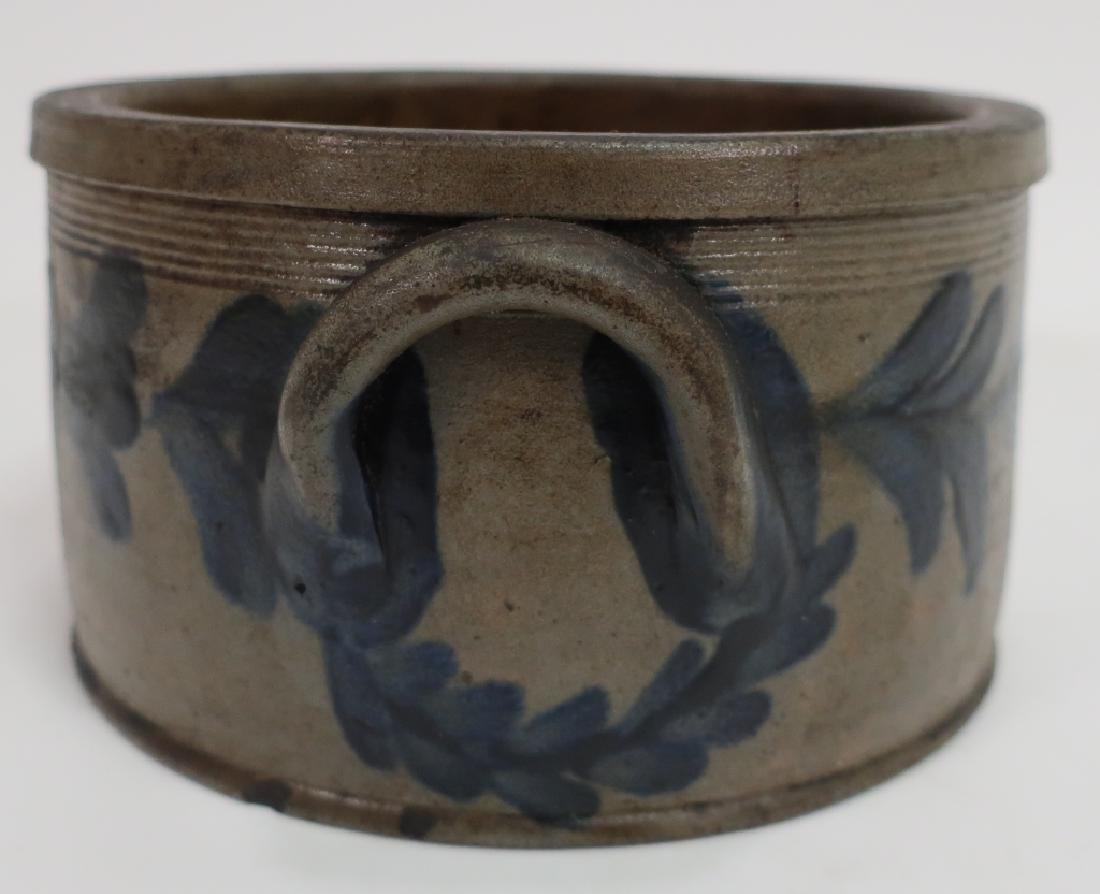 19th c. Cobalt Decorated Cake Crock, Handles - 2