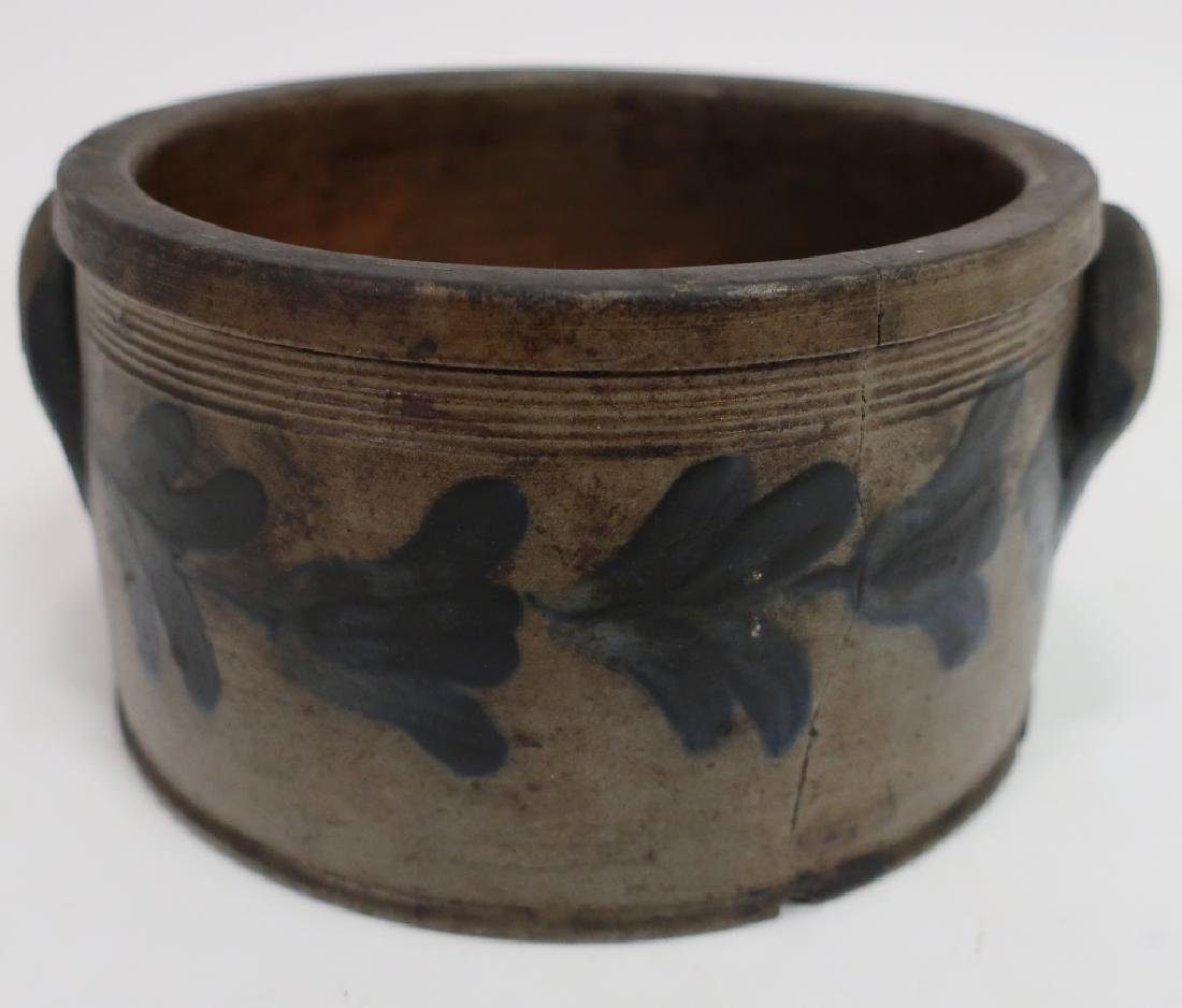 19th c. Cobalt Decorated Cake Crock, Handles - 3