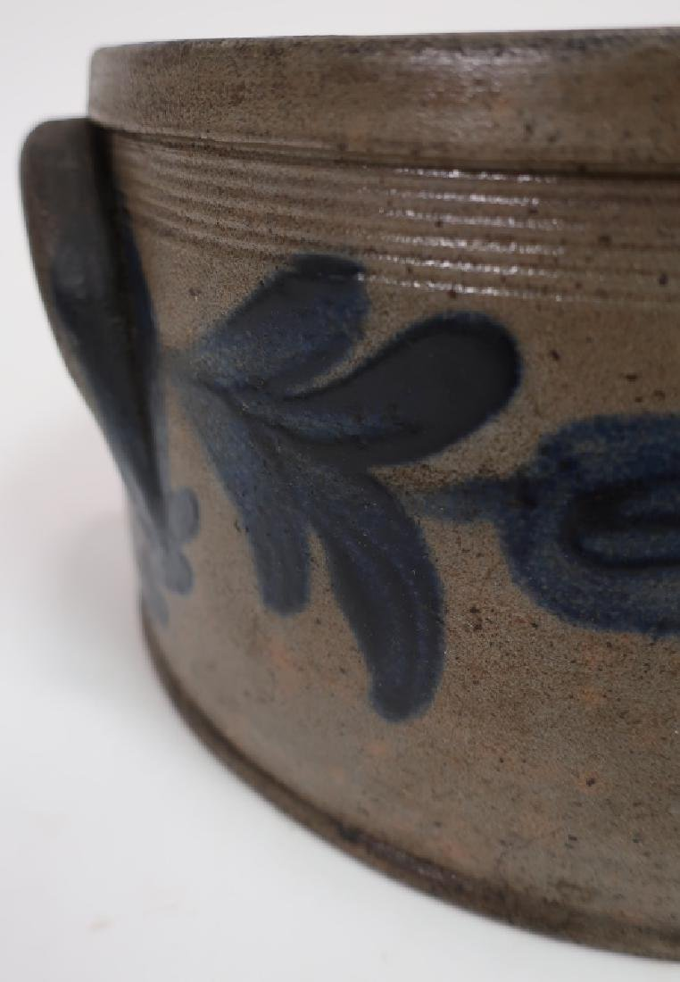 19th c. Cobalt Decorated Cake Crock, Handles - 5