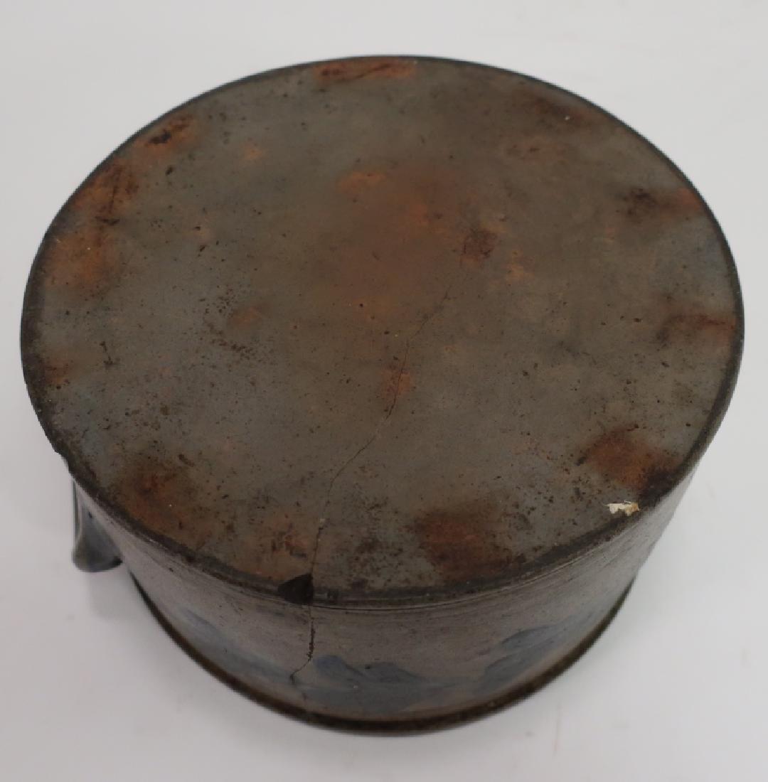 19th c. Cobalt Decorated Cake Crock, Handles - 7
