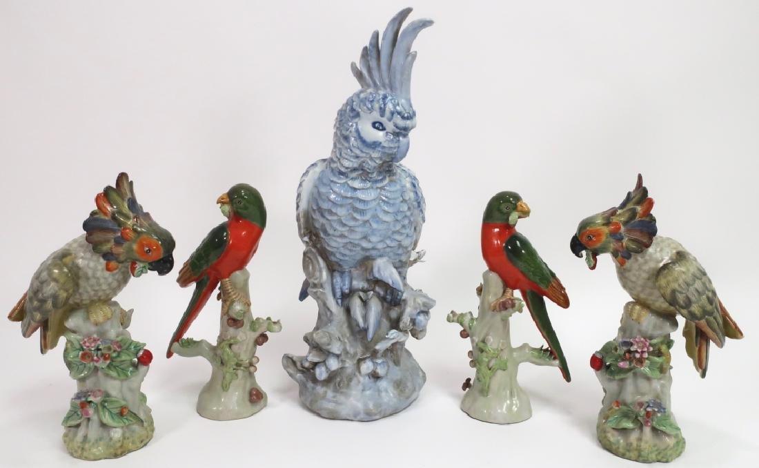 Lot of 5 Porcelain Tropical Birds