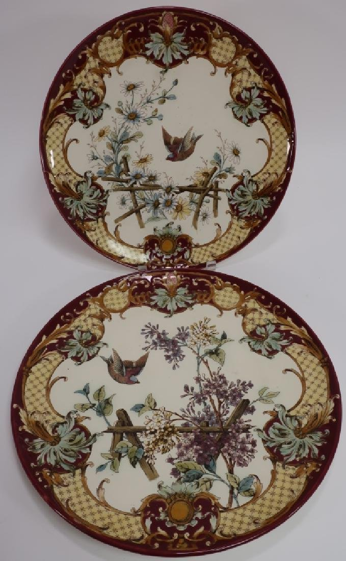 Pair Aesthetic Movement-Style Porcelain Chargers