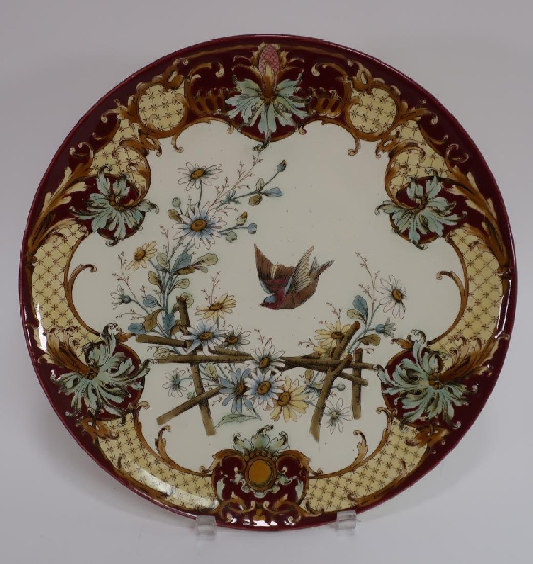 Pair Aesthetic Movement-Style Porcelain Chargers - 2