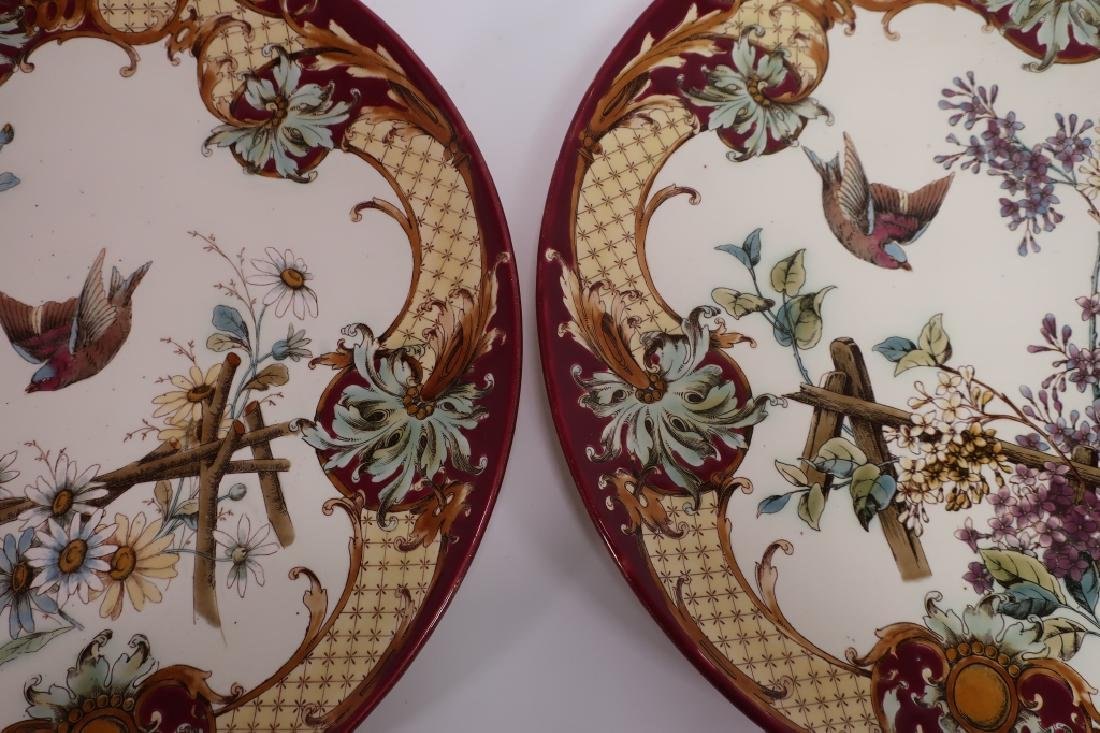 Pair Aesthetic Movement-Style Porcelain Chargers - 4