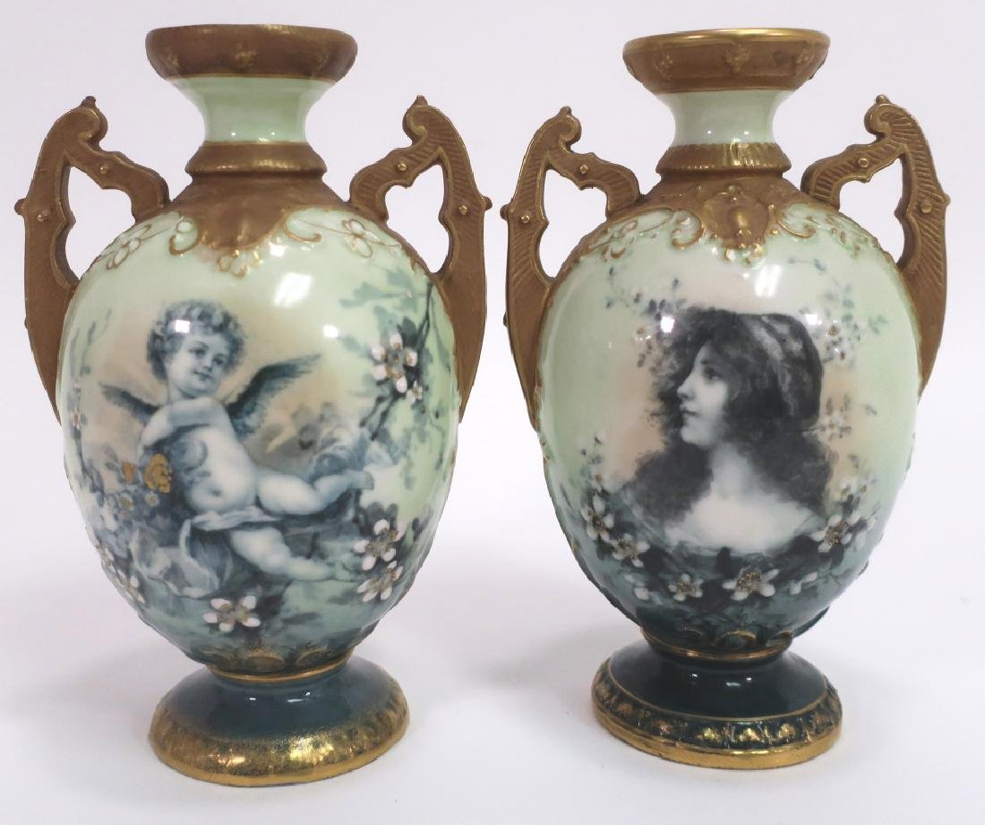 Pair of Ernst Wahliss Porcelain Urns, 1900