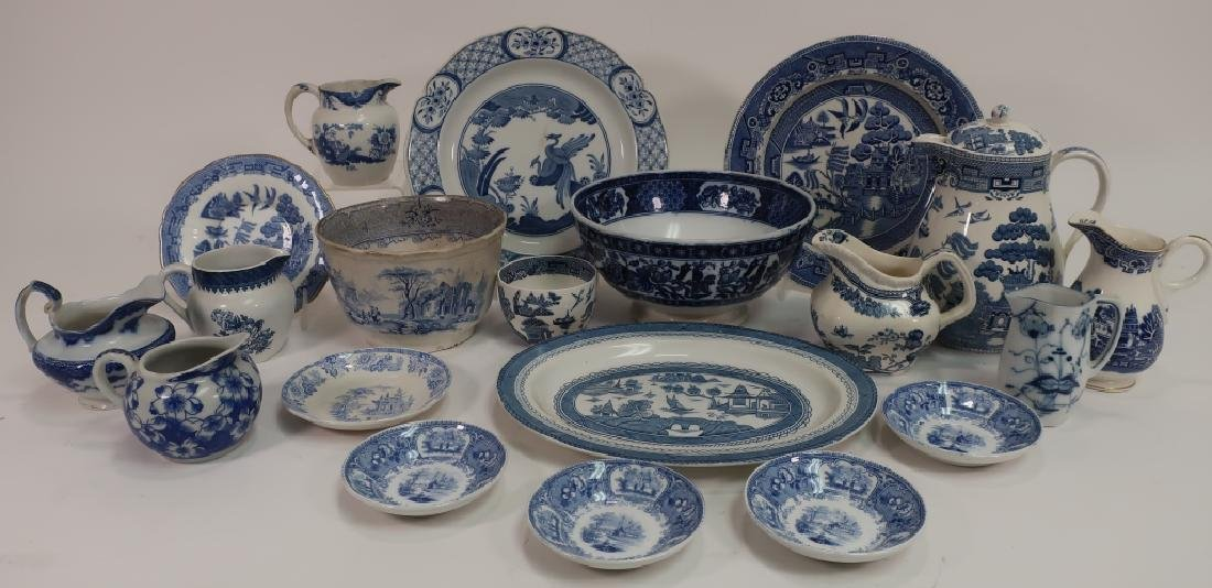 Lot of English Blue & White Porcelain, Ironstone,