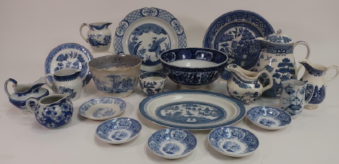 Lot of English Blue & White Porcelain, Ironstone,