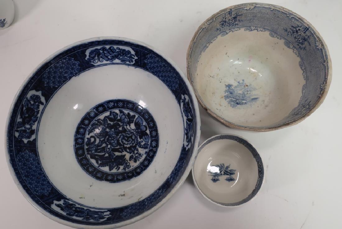 Lot of English Blue & White Porcelain, Ironstone, - 2