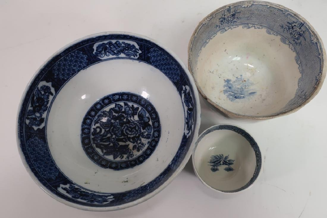 Lot of English Blue & White Porcelain, Ironstone, - 3