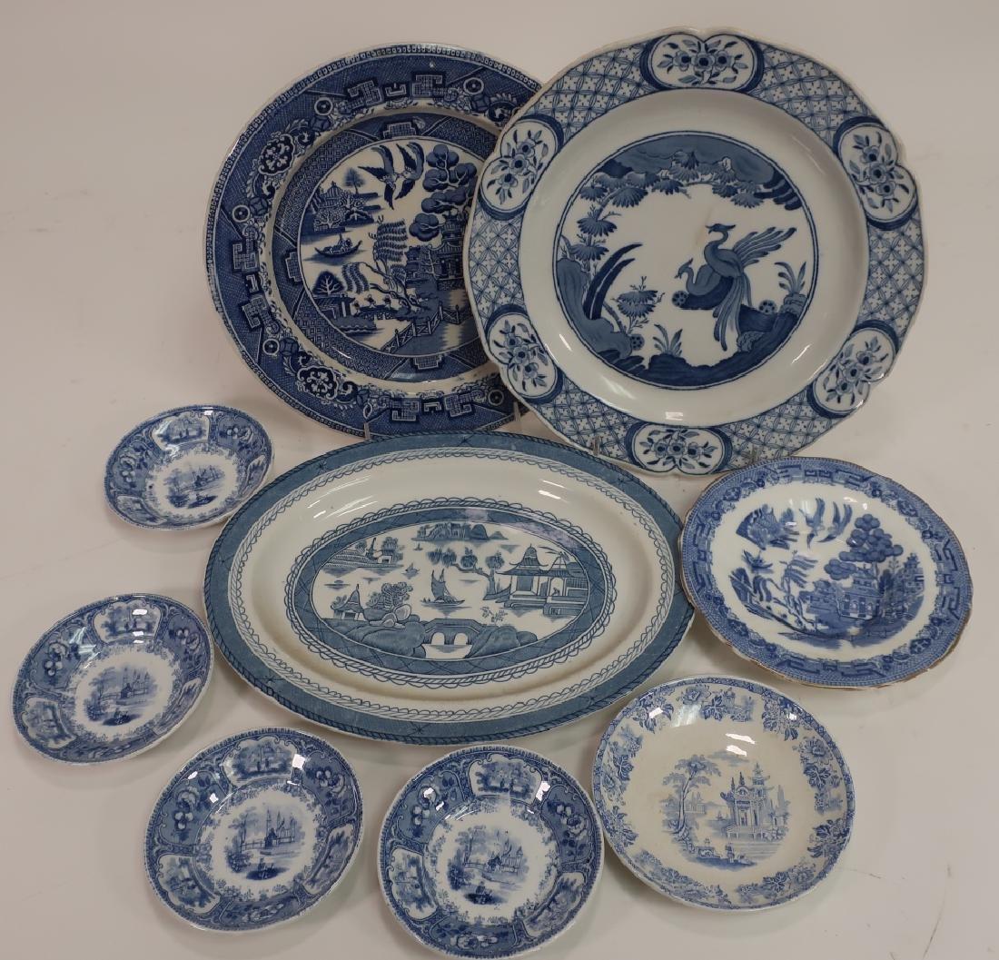 Lot of English Blue & White Porcelain, Ironstone, - 4