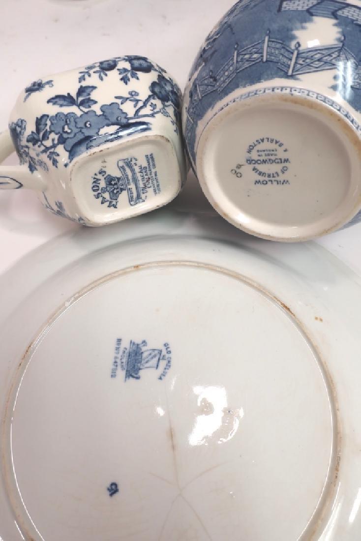 Lot of English Blue & White Porcelain, Ironstone, - 6