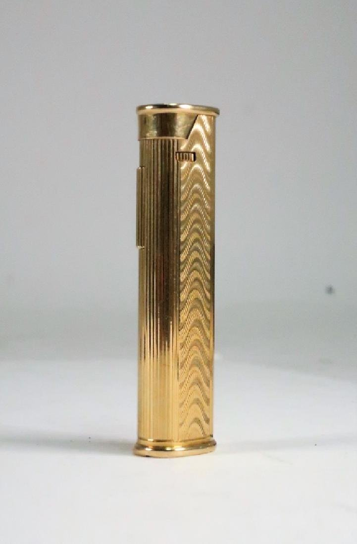18k Gold Engraved Wave Motif Dunhill Lighter