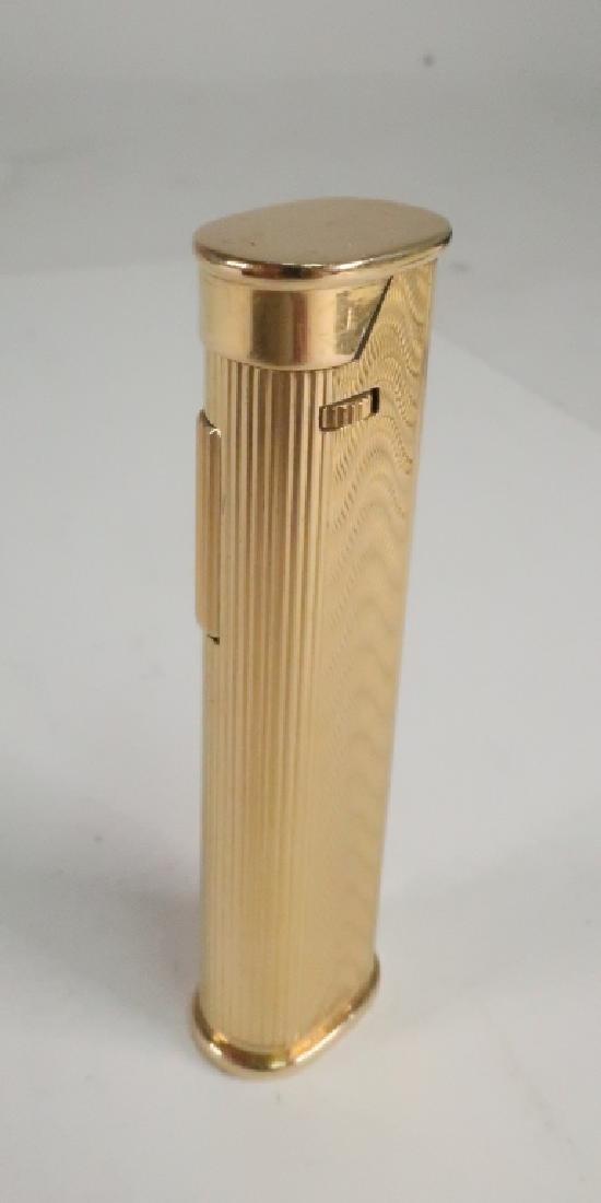 18k Gold Engraved Wave Motif Dunhill Lighter - 2